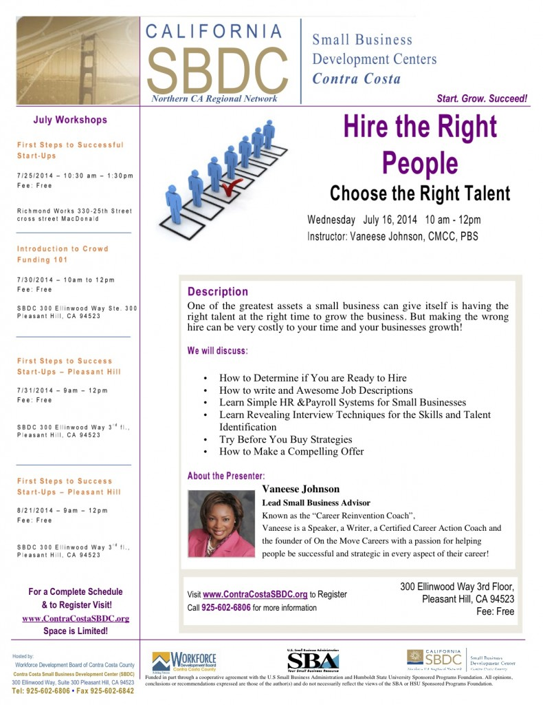 Hire the Right People @ Pleasant Hill SBDC - 3rd Floor | Pleasant Hill | California | United States